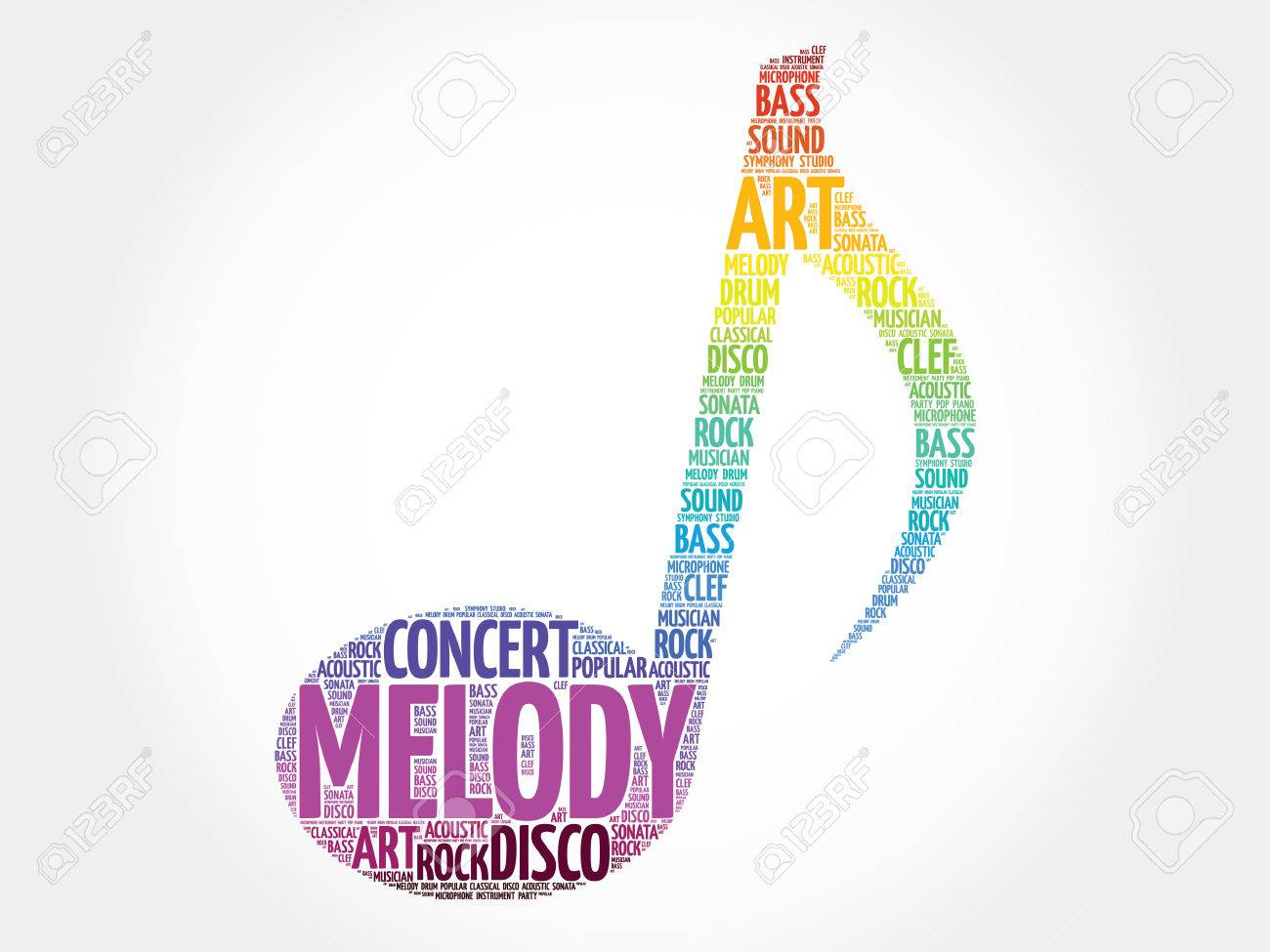 music note word cloud melody concept stock vector 52435384