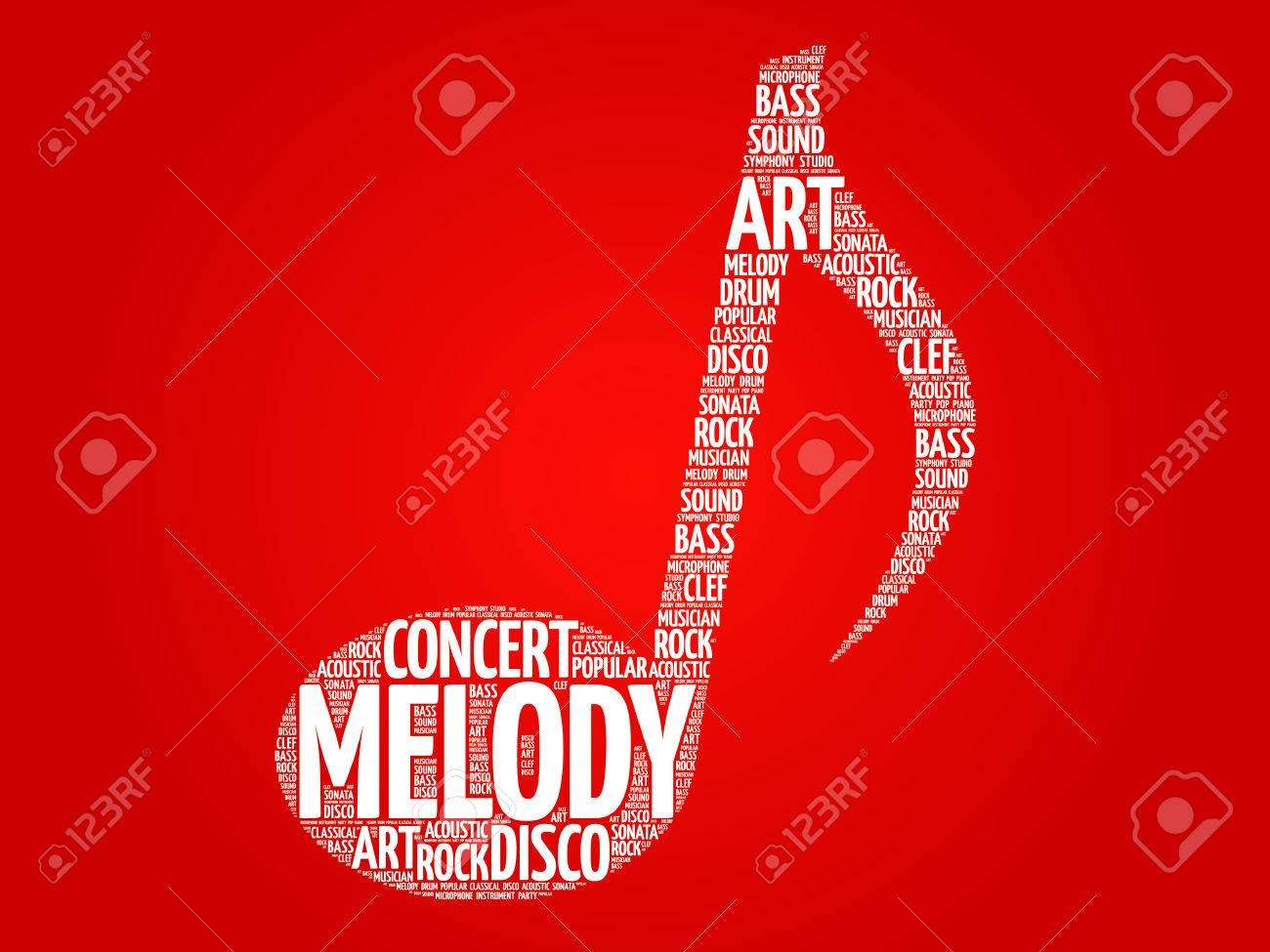 Music Note Word Cloud Melody Concept Royalty Free Cliparts Vectors