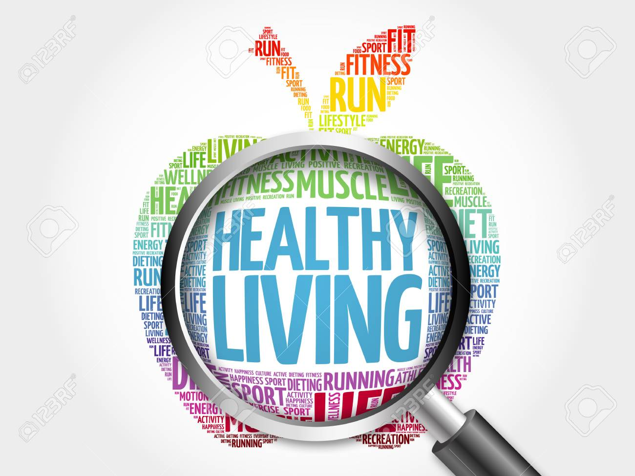 Healthy Living apple word cloud with magnifying glass, health