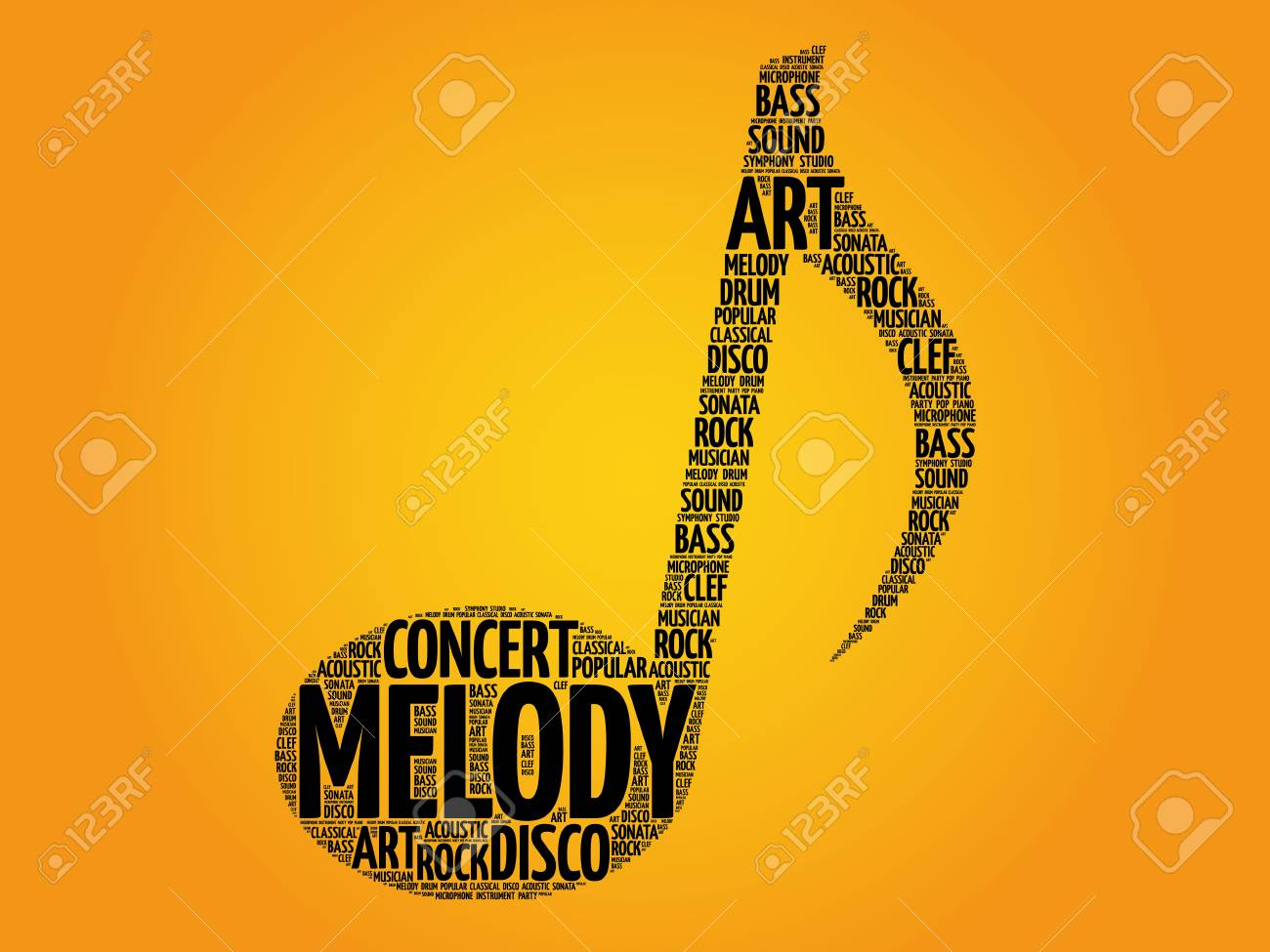 Music Note Word Cloud, Melody Concept Royalty Free Cliparts, Vectors ...