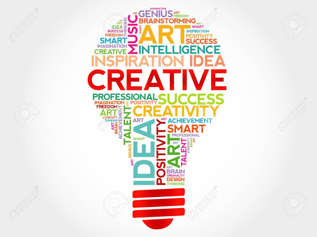 Creative bulb word cloud concept - 53880336