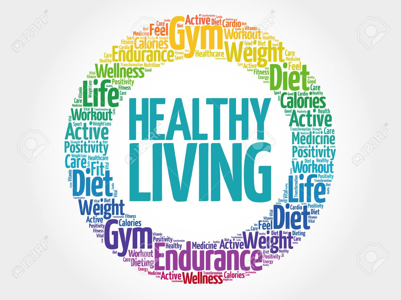 Healthy Living circle stamp word cloud, health concept