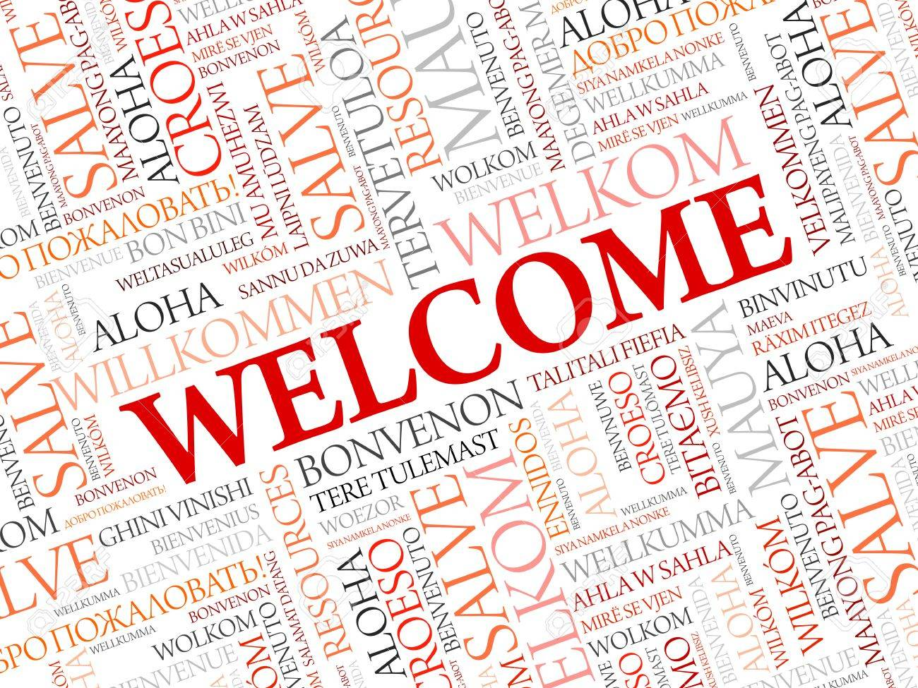 WELCOME word cloud in different languages, concept background - 57872021
