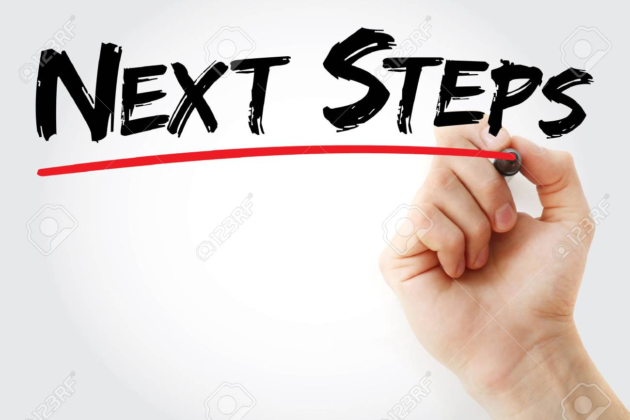Hand writing Next Steps with marker, health concept background - 59048850