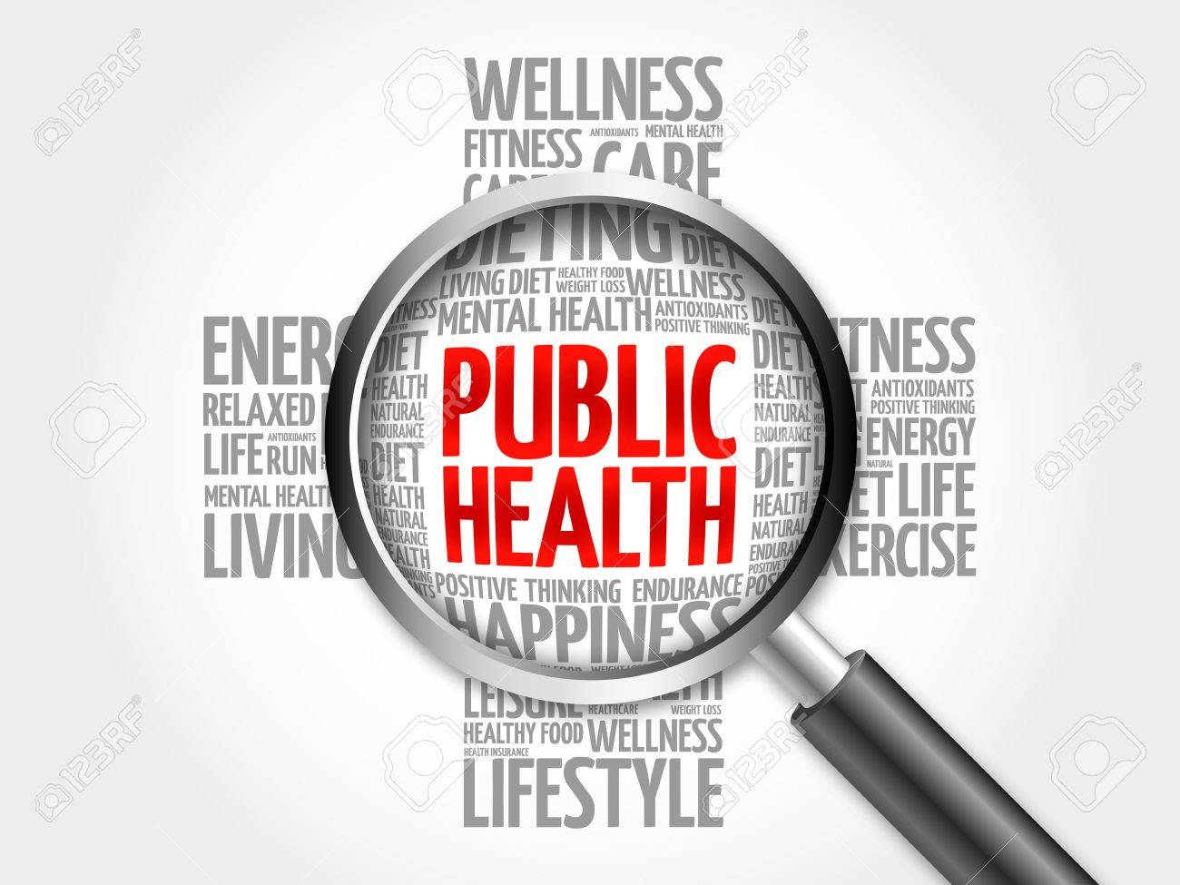 Public Health word cloud with magnifying glass, health cross concept 3D illustration - 62411669
