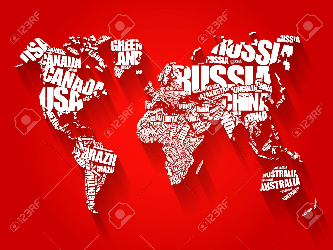 stock photo world map in typography word cloud concept names of countries flat style design background