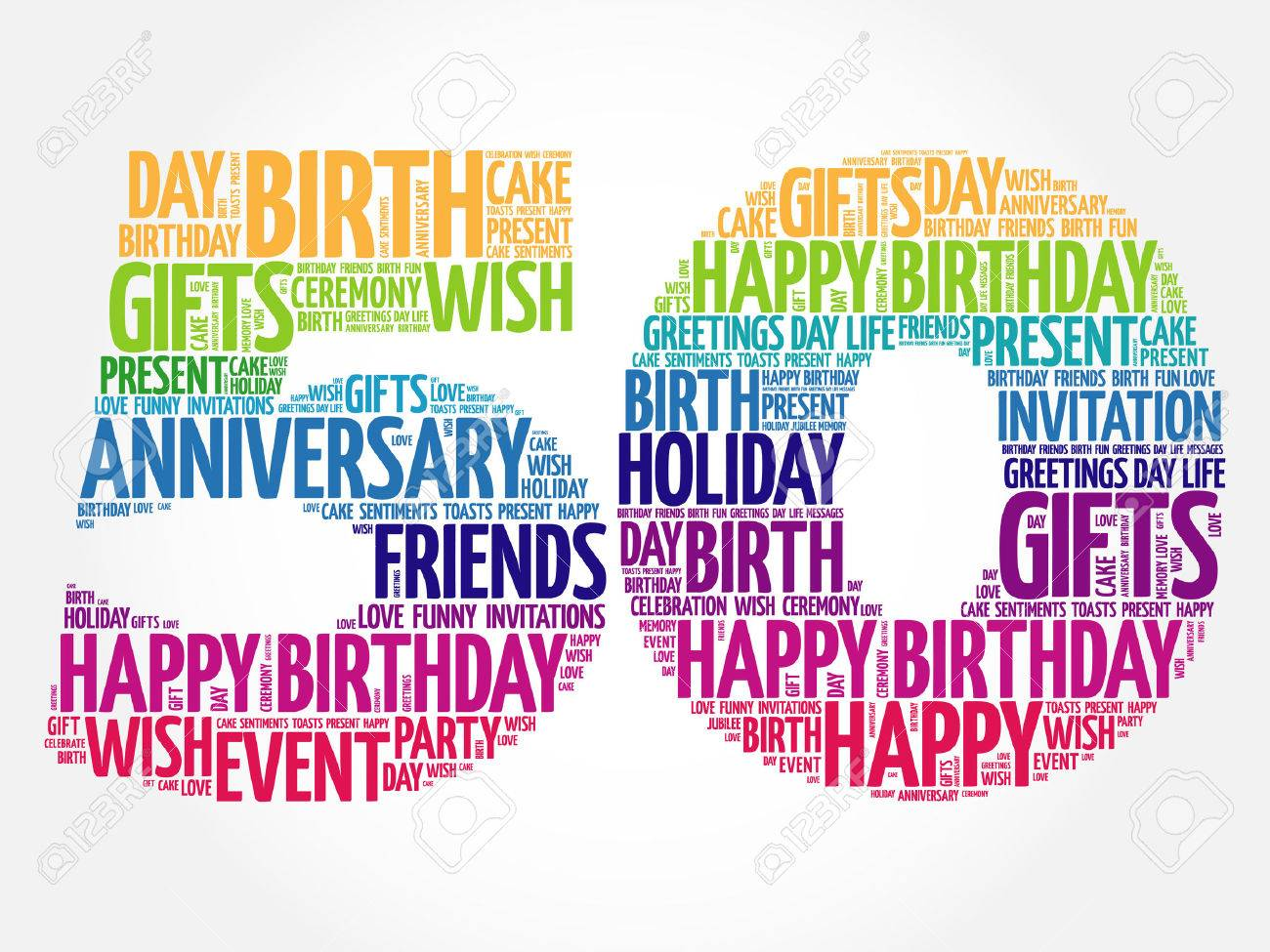 Happy 50th birthday word cloud collage concept - 62907155