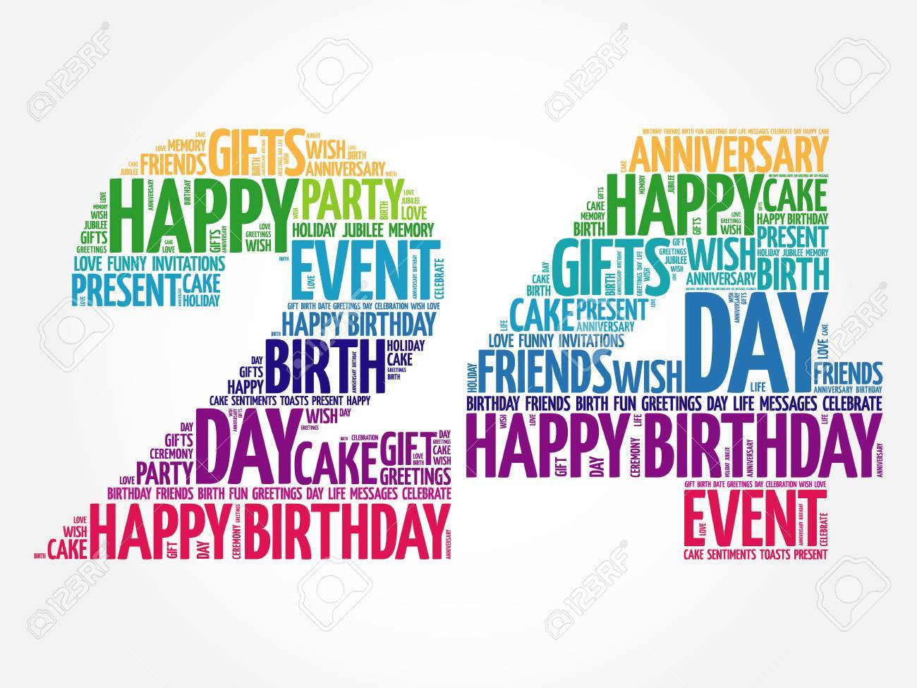 happy 24th birthday word cloud collage concept royalty free cliparts