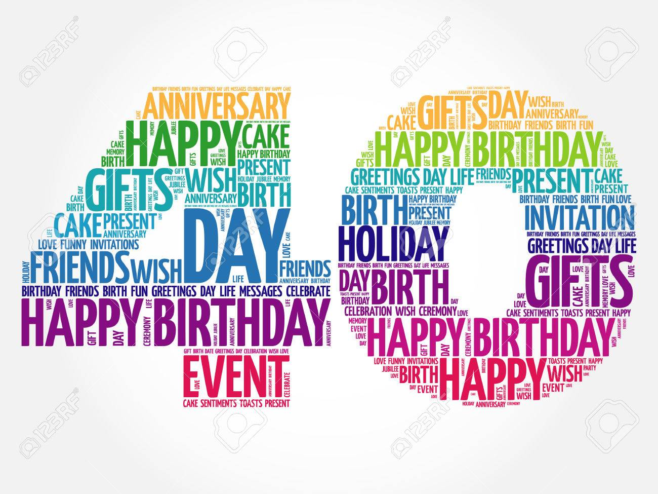 happy 40th birthday word cloud collage concept royalty free cliparts rh 123rf com 40th birthday clipart images 40th birthday clipart images