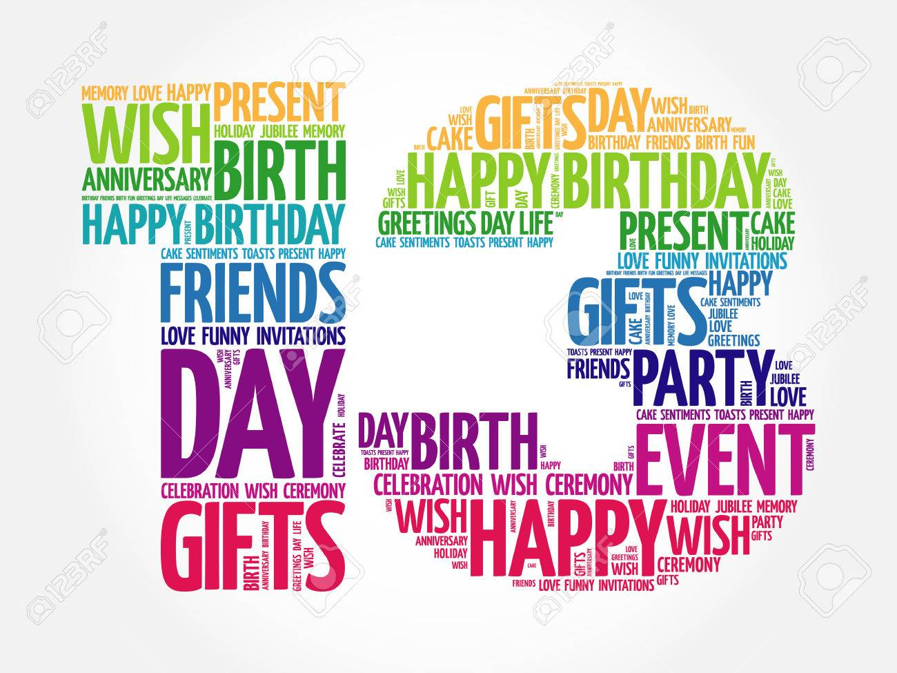 happy 13th birthday word cloud collage concept royalty free cliparts