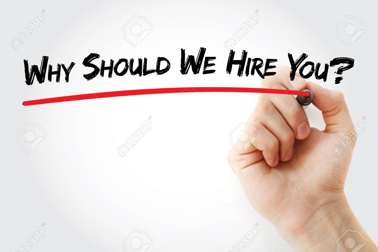 hand writing why should we hire you marker concept hand writing why should we hire you marker concept background stock photo