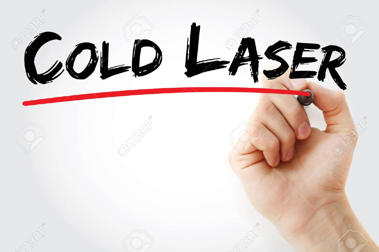Hand writing Cold laser with marker, concept background - 66302632