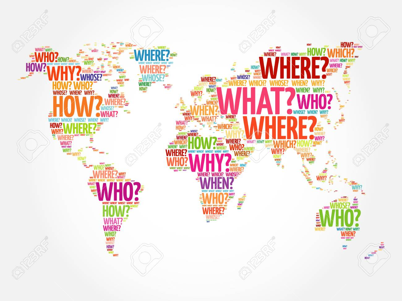 Question words world map in typography words cloud business question words world map in typography words cloud business concept background stock vector 68077064 gumiabroncs Image collections
