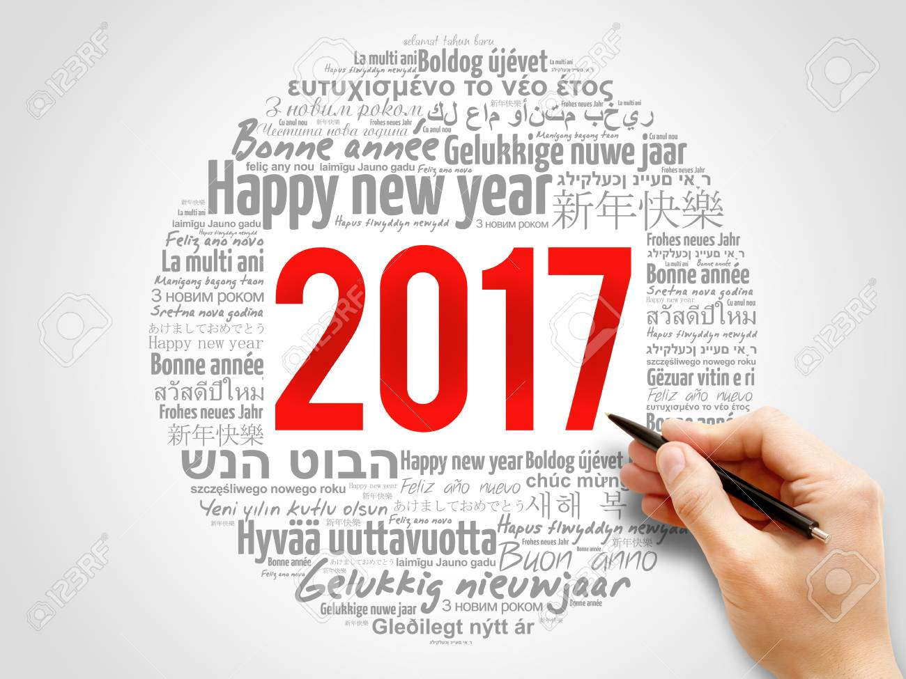 2017 Happy New Year In Different Languages, Celebration Word.. Stock ...