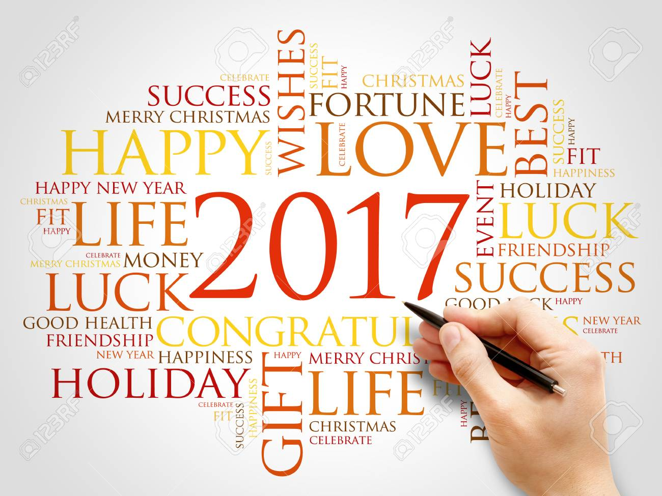 2017 year greeting word cloud collage happy new year celebration greeting card stock photo