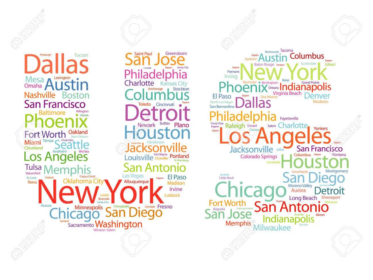 US-Buchstaben Mit Den Städten Namen Wörter Wolke, Konzept ...