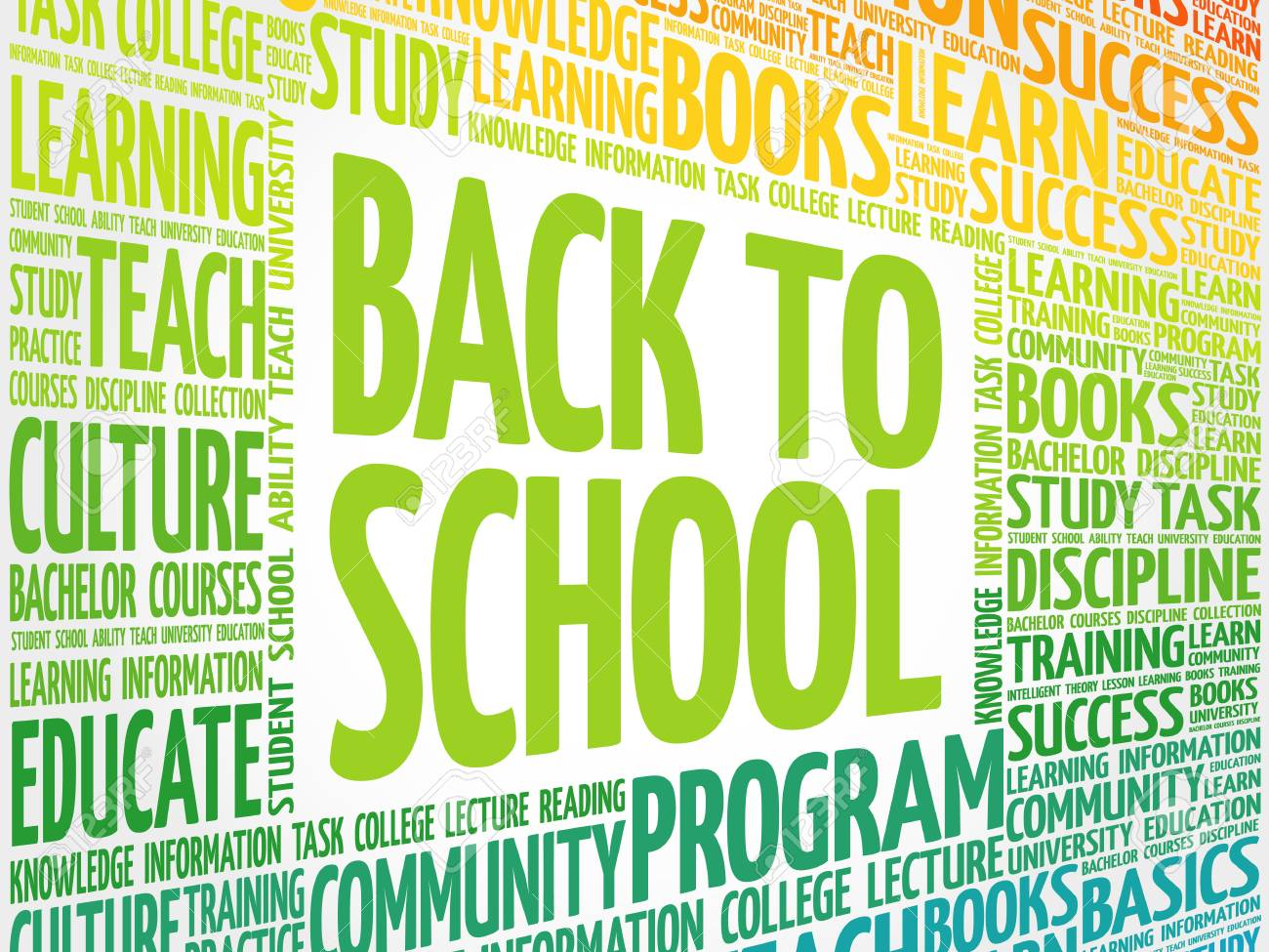 Back To School Word Cloud Collage Education Concept Background