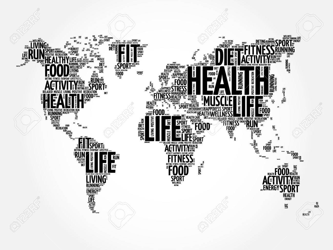 Health and life world map in typography sport health fitness health and life world map in typography sport health fitness word cloud concept gumiabroncs Choice Image