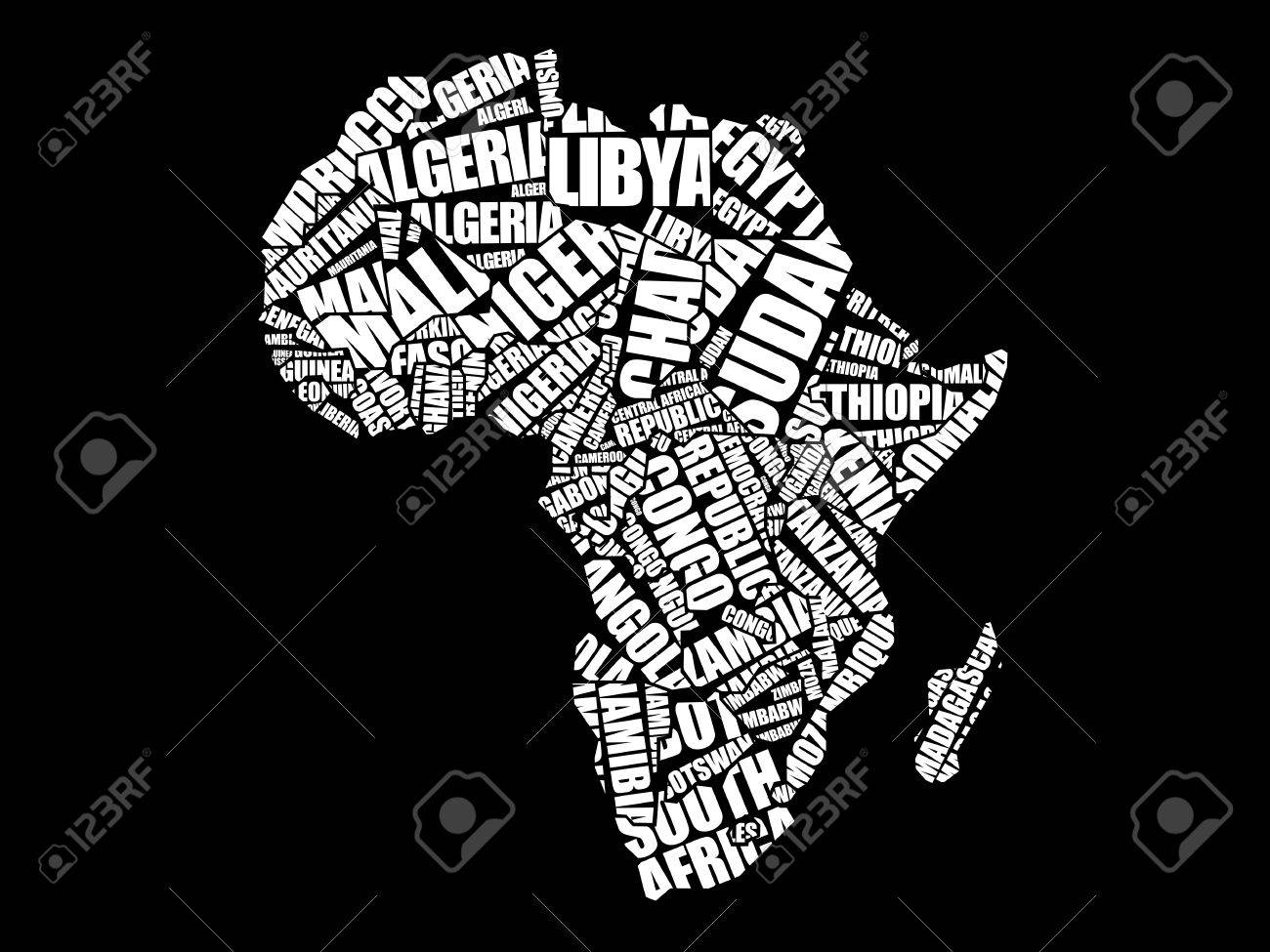 African countries map in typography word cloud concept names african countries map in typography word cloud concept names of countries stock vector 70394770 gumiabroncs Choice Image