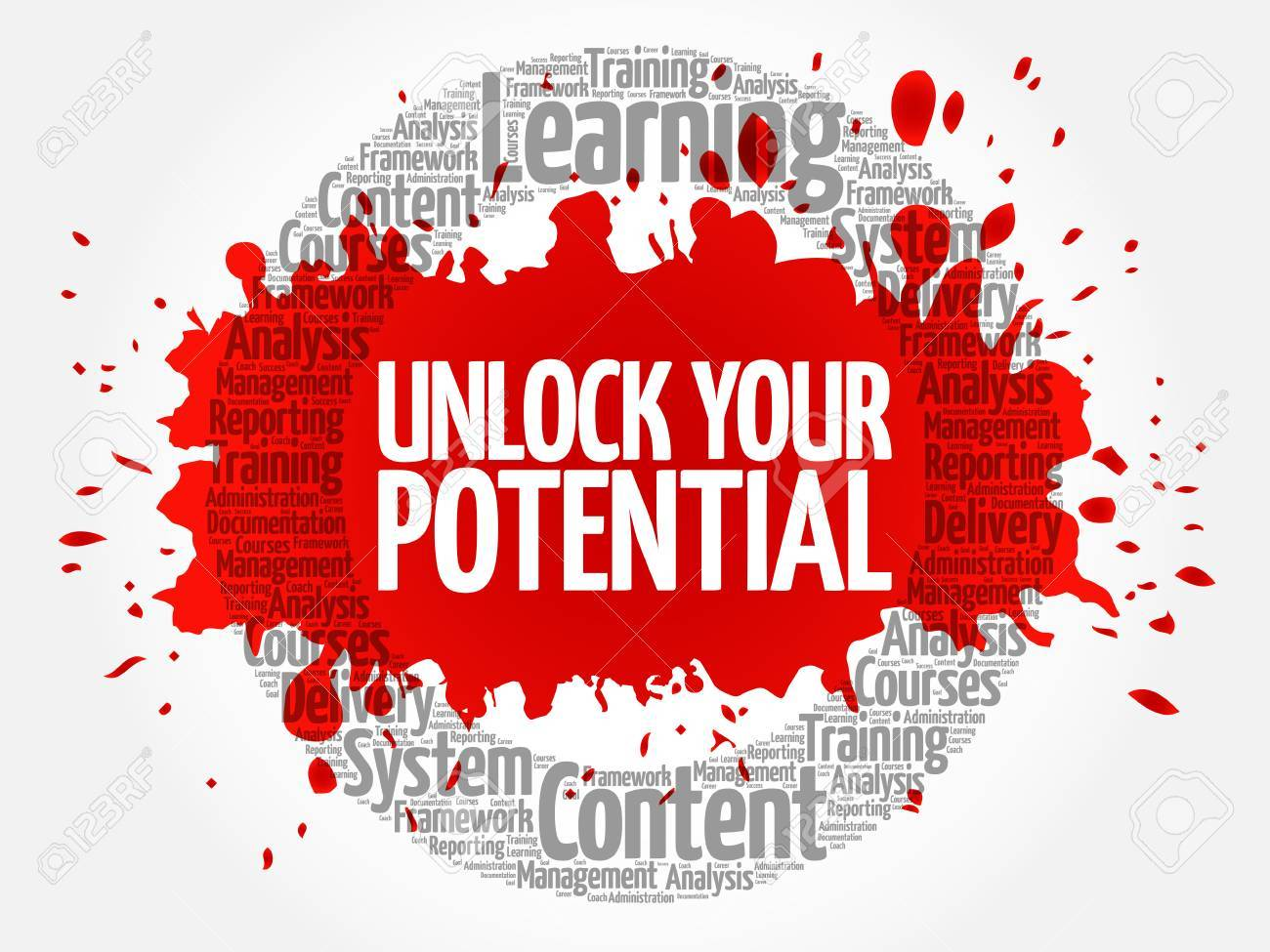 Unlock your potential circle word cloud, business concept - 71363281