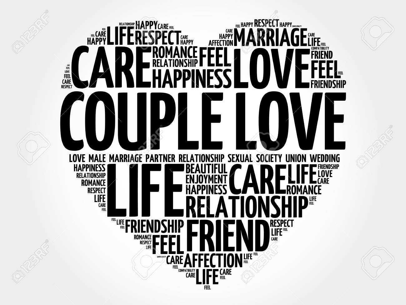 Couple Love Word Cloud Collage Heart Concept Background Stock Vector