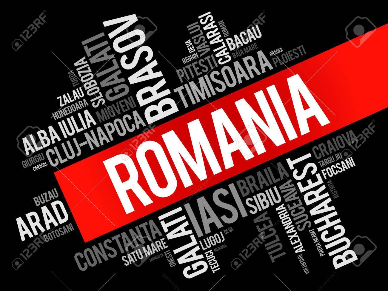 ルーマニアの単語の雲のコラージ...