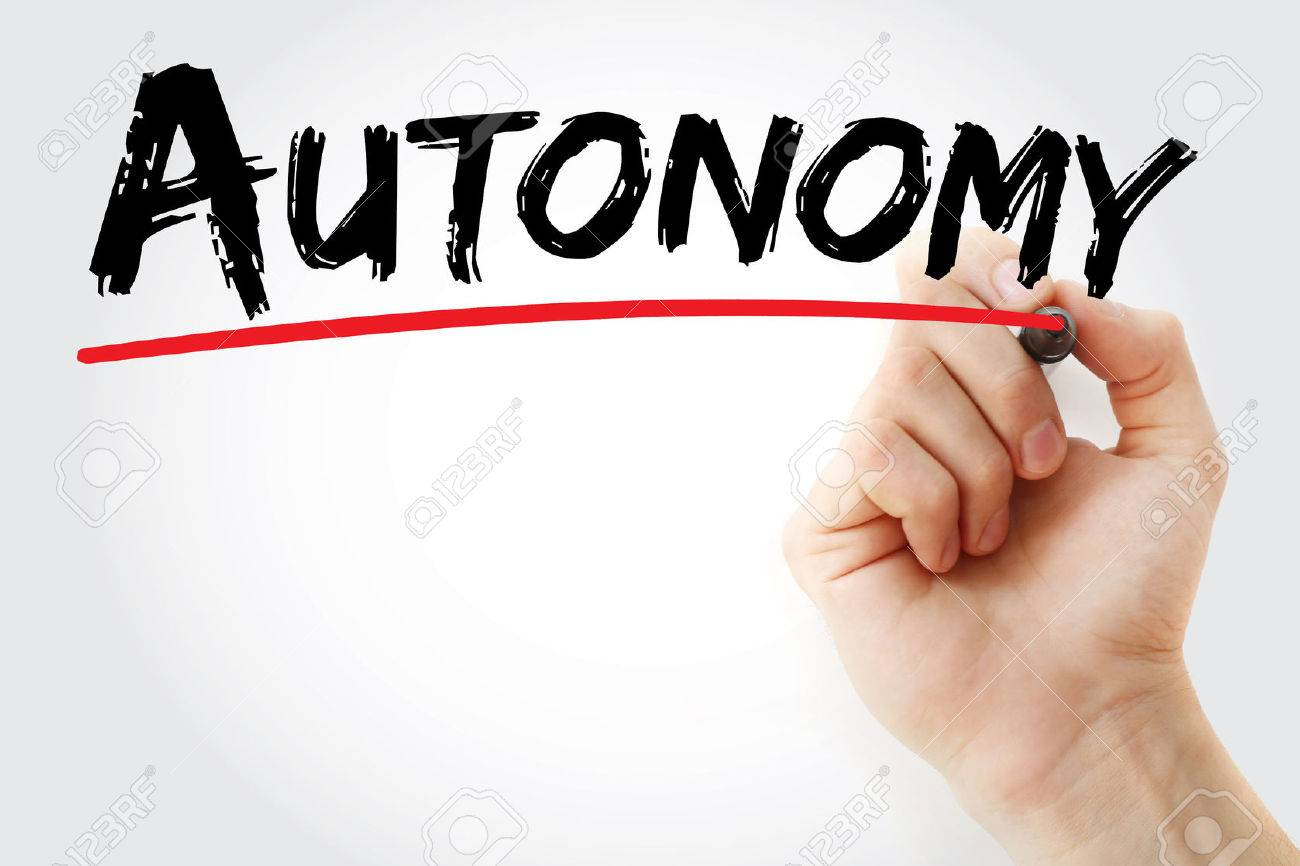 Hand writing Autonomy with marker, concept background - 75580149