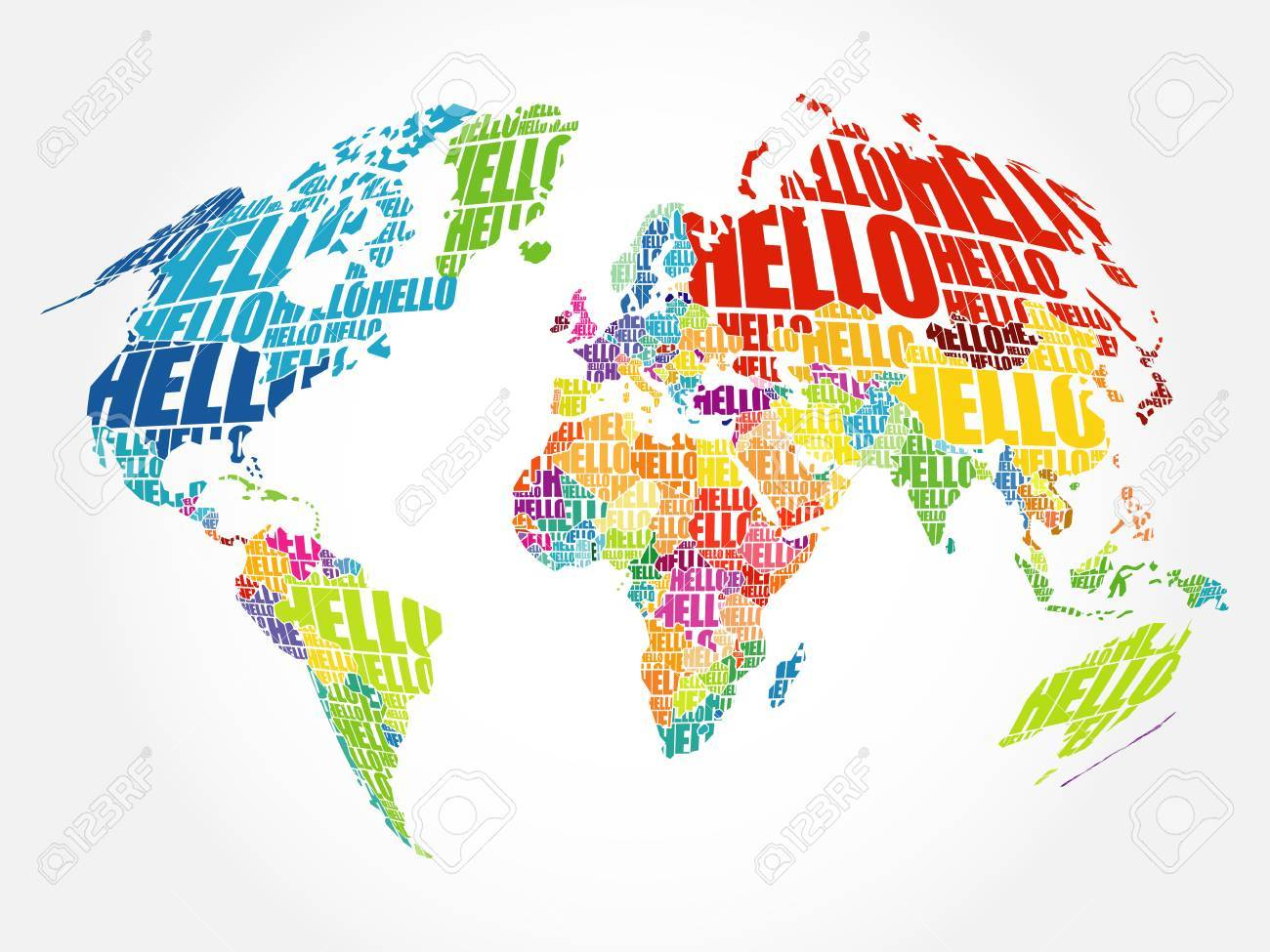 Hello word cloud world map in typography background concept royalty hello word cloud world map in typography background concept stock vector 79898513 gumiabroncs Image collections