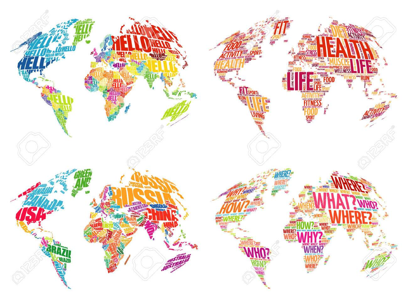 Set of infographic world word cloud maps in typography health set of infographic world word cloud maps in typography health hello question and gumiabroncs Choice Image