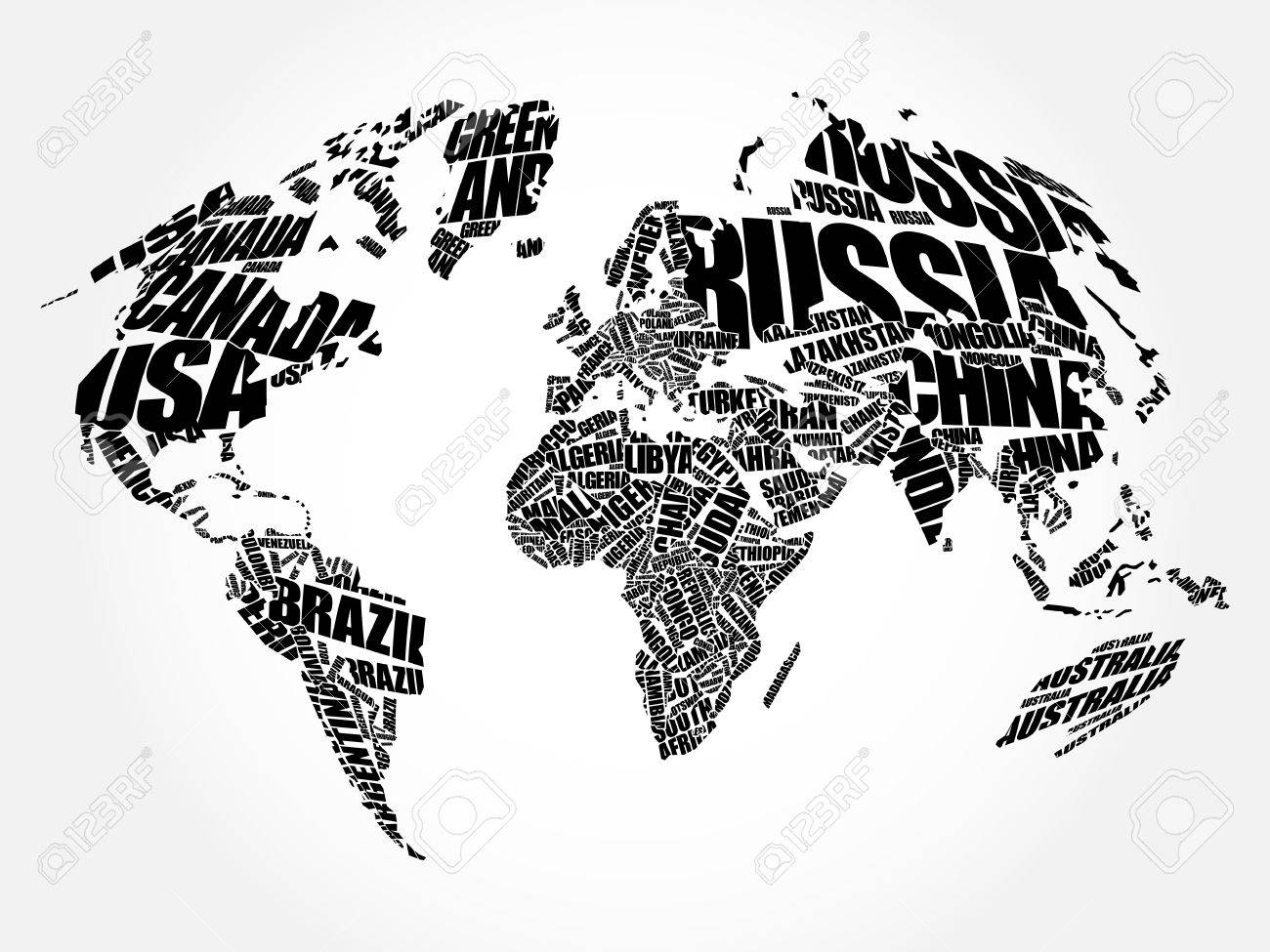 vector world map in typography word cloud concept names of countries
