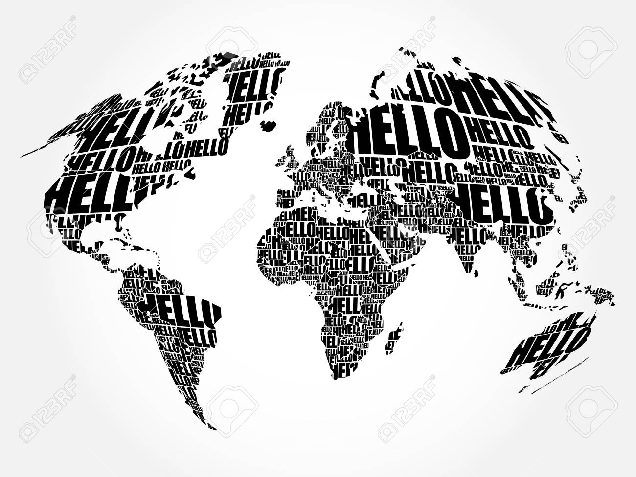 Hello word cloud world map in typography background concept royalty hello word cloud world map in typography background concept stock vector 79904165 gumiabroncs Image collections