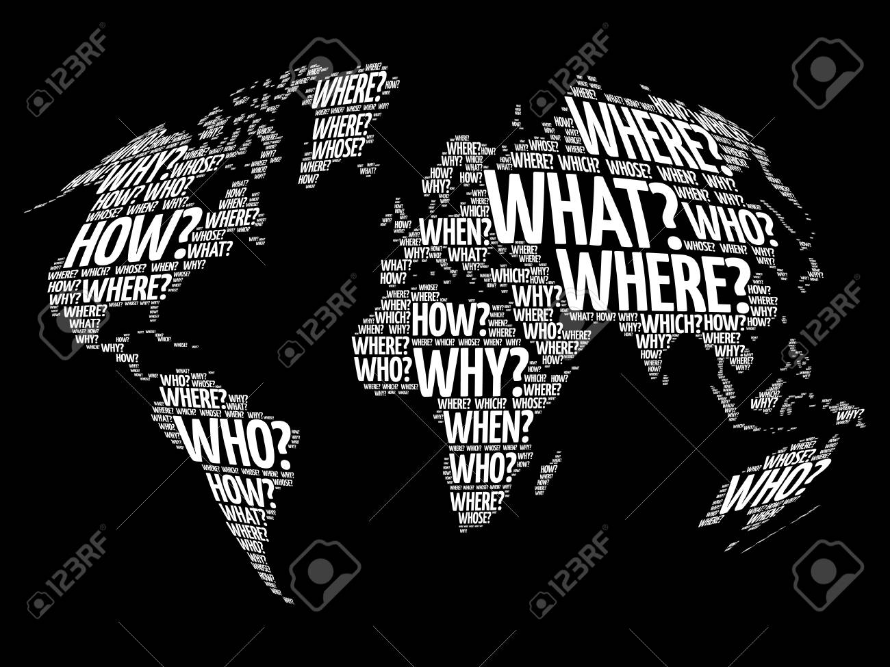 question words world map in typography words cloud business concept background stock vector 79904182