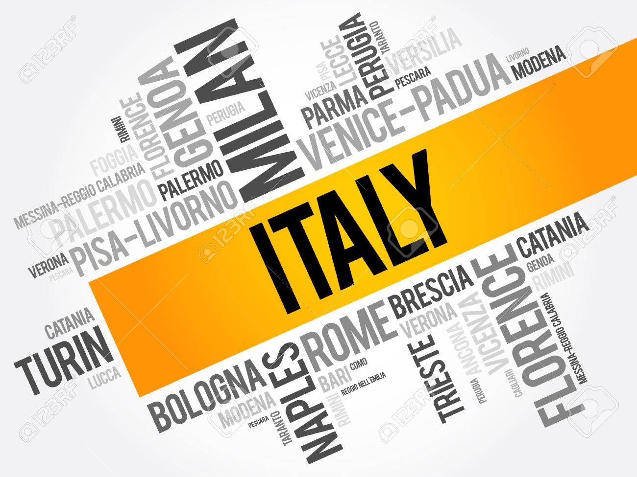list of cities in italy, word cloud collage, travel concept