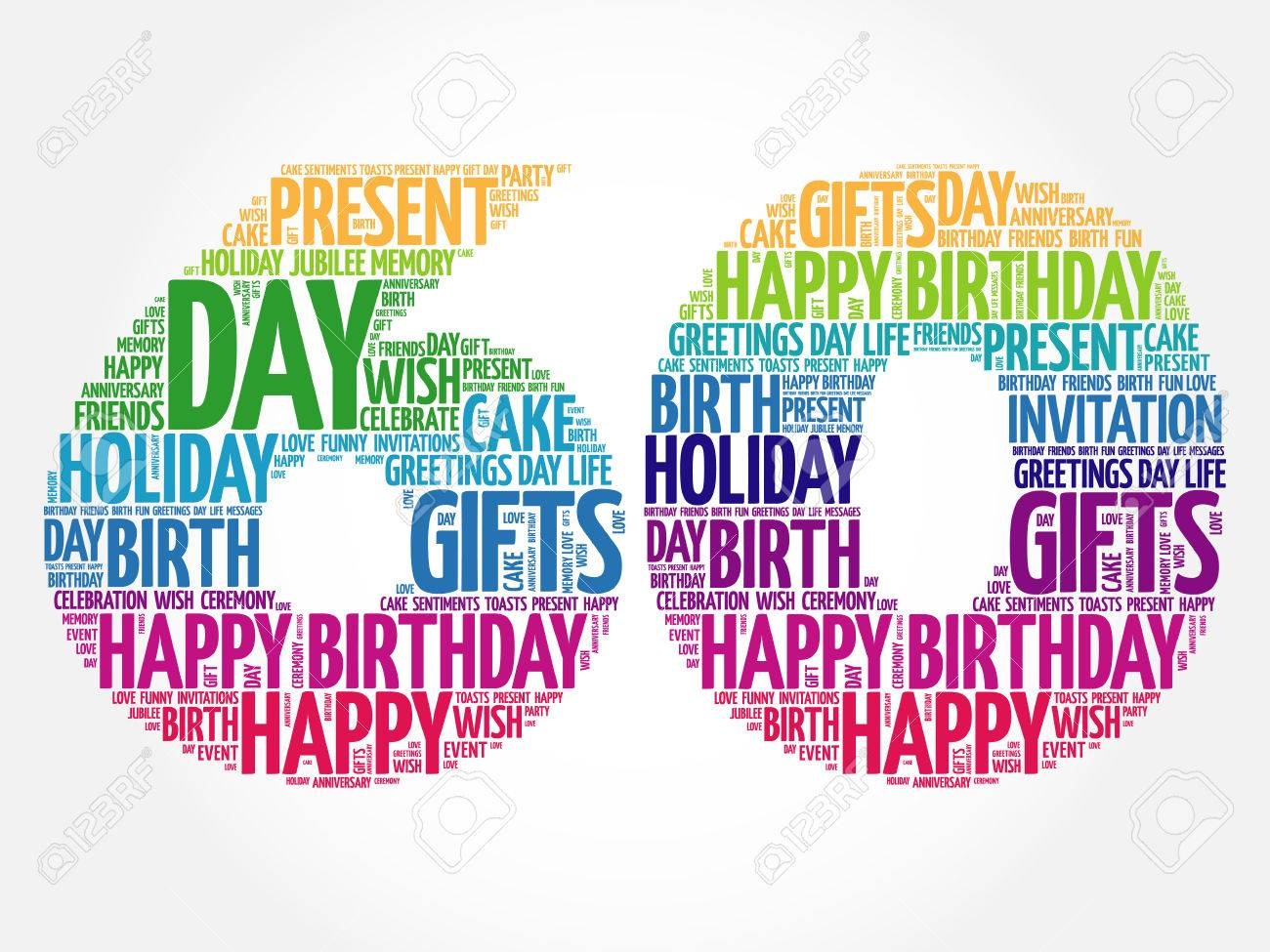 Happy 60th Birthday Word Cloud Collage Concept Stock Vector
