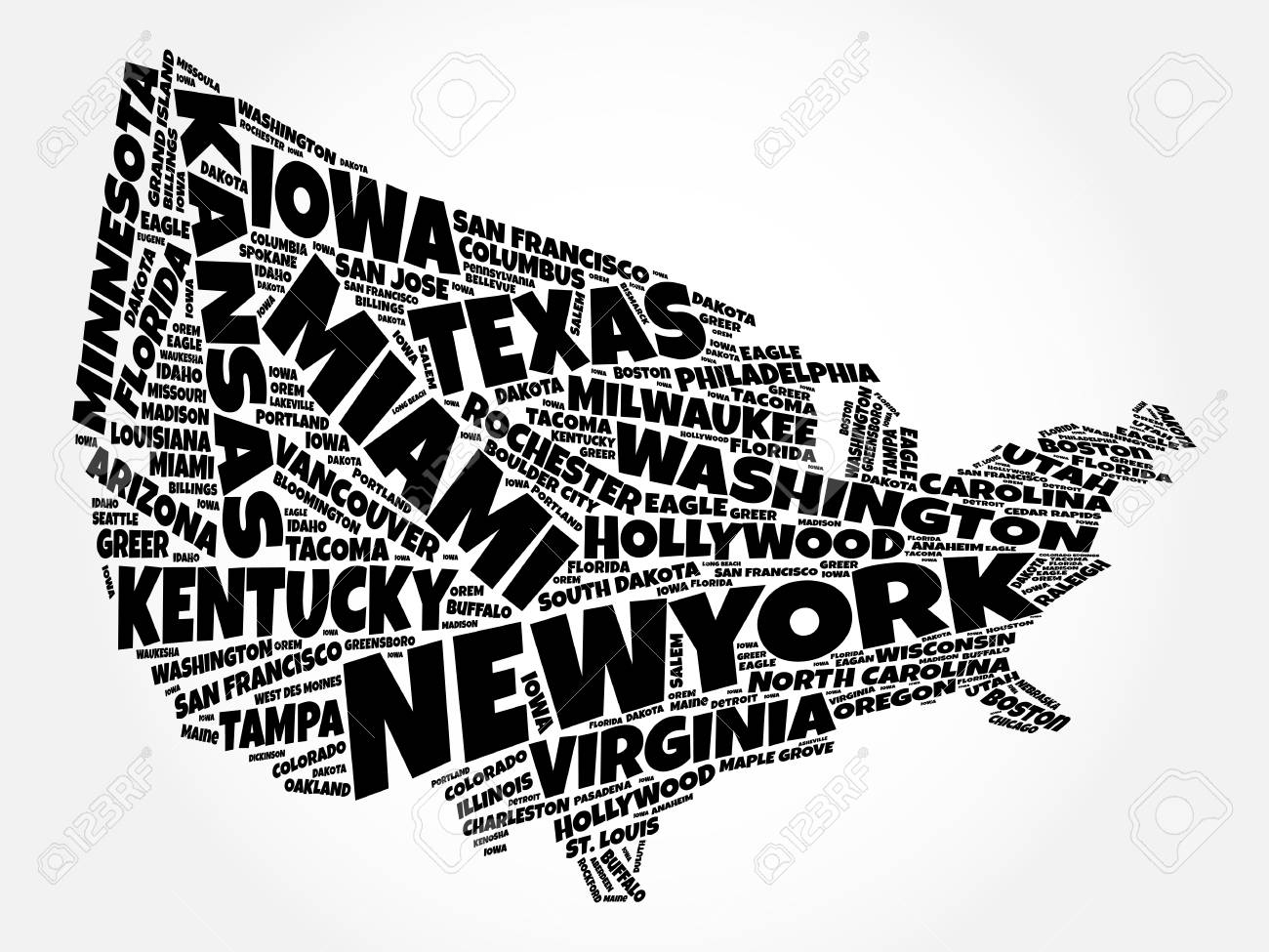 Line Art Usa Map : Usa map word cloud collage with most important cities royalty free