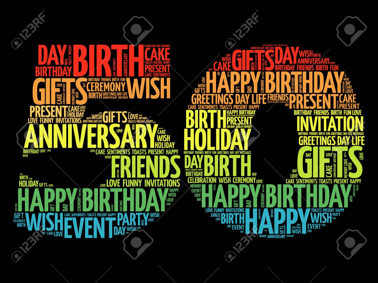 Happy 50th Birthday Word Cloud Collage Concept Stock Vector