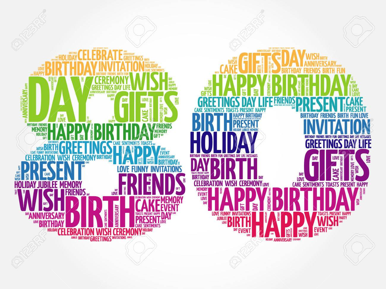 Happy 80th Birthday Word Cloud Collage Concept Stock Vector