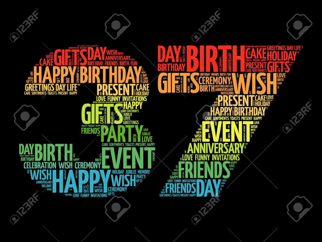 Happy 37th Birthday Word Cloud Collage Concept Royalty Free Cliparts