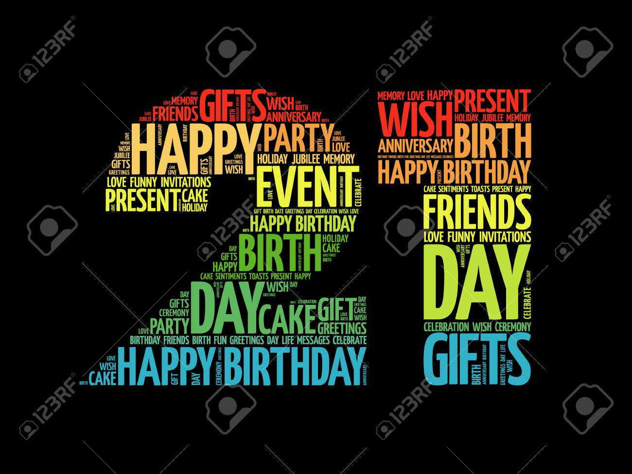 Happy 21st Birthday Images.Happy 21st Birthday Word Cloud Collage Concept