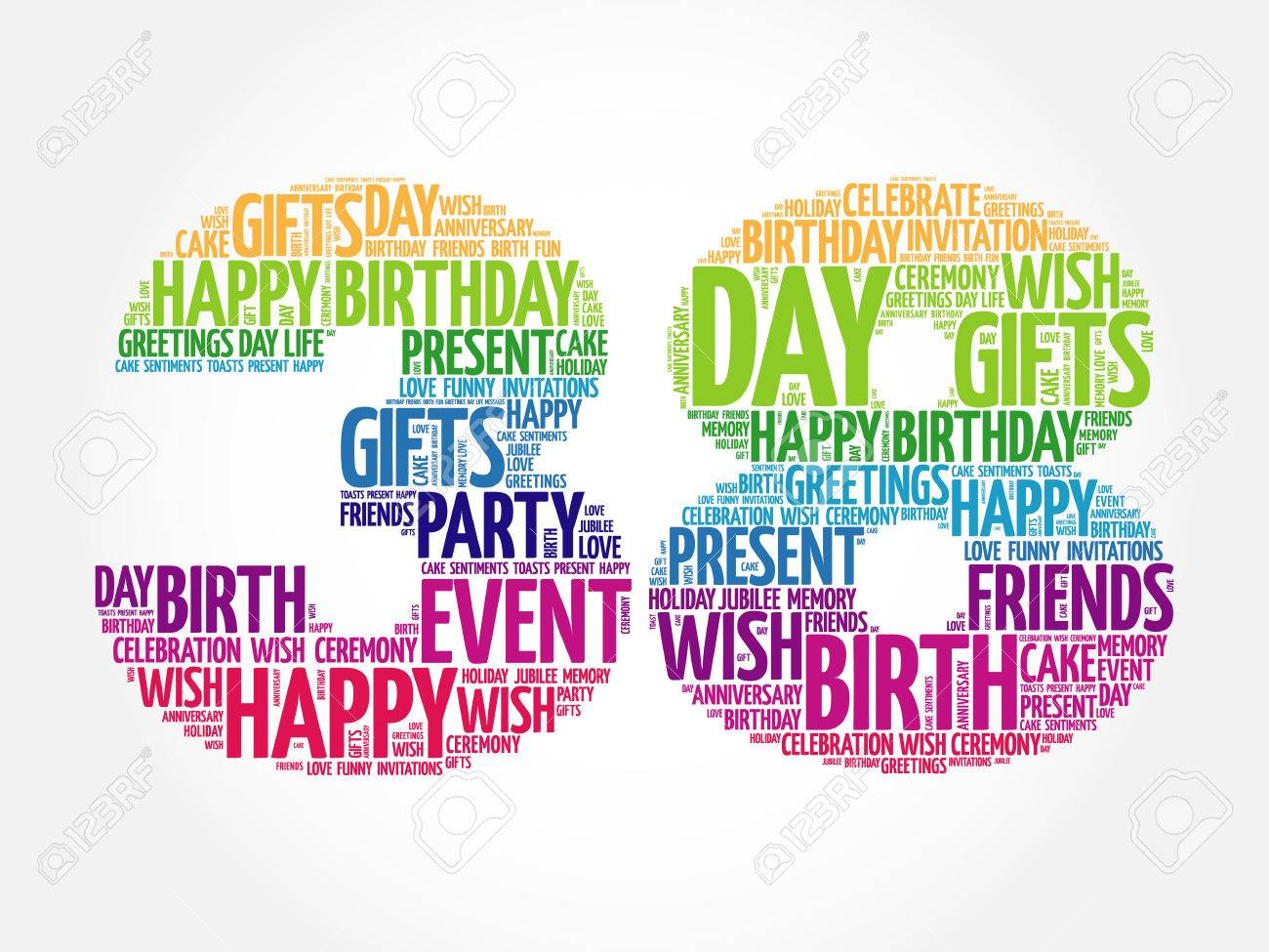 Happy 38th Birthday Word Cloud Collage Concept Royalty Free Happy 38 Birthday Wishes