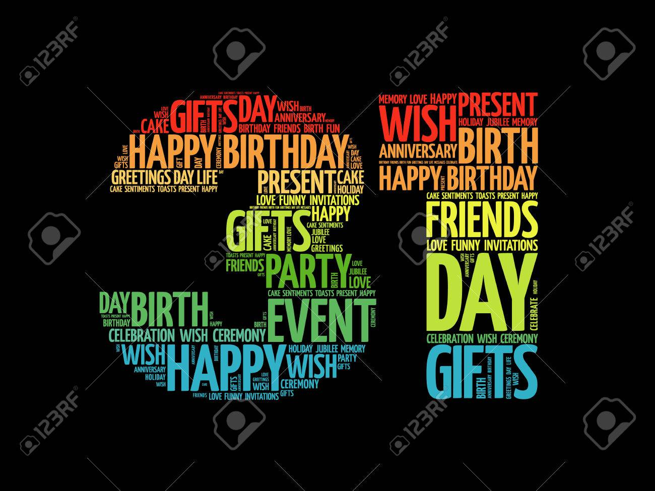 Happy 31st Birthday Word Cloud Collage Concept Royalty Free Cliparts