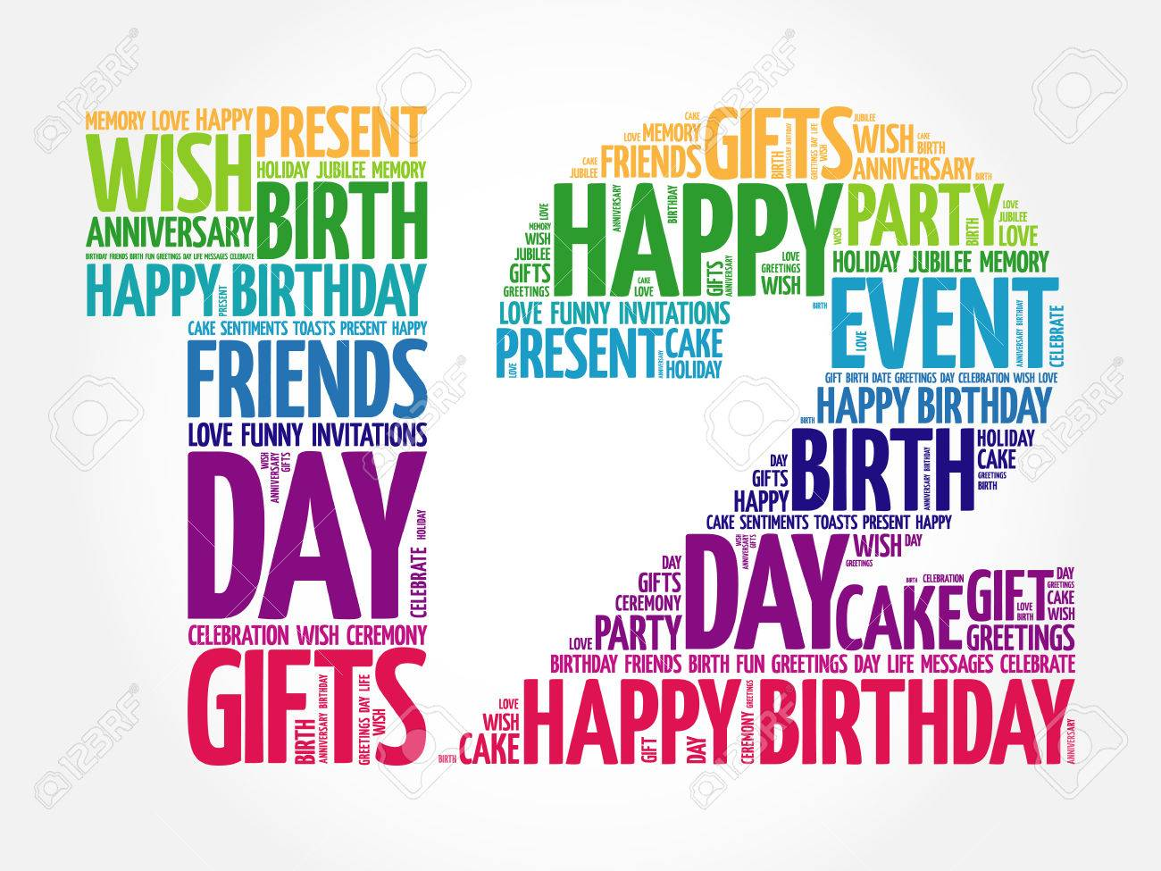 12th birthday Happy 12th Birthday Word Cloud Collage Concept Royalty Free  12th birthday