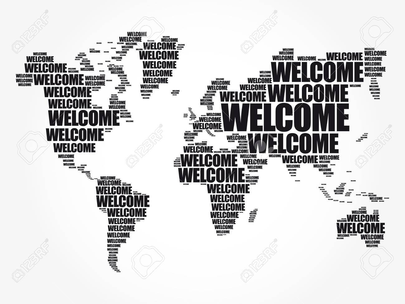Welcome World Map In Typography Word Cloud Business Conceptual