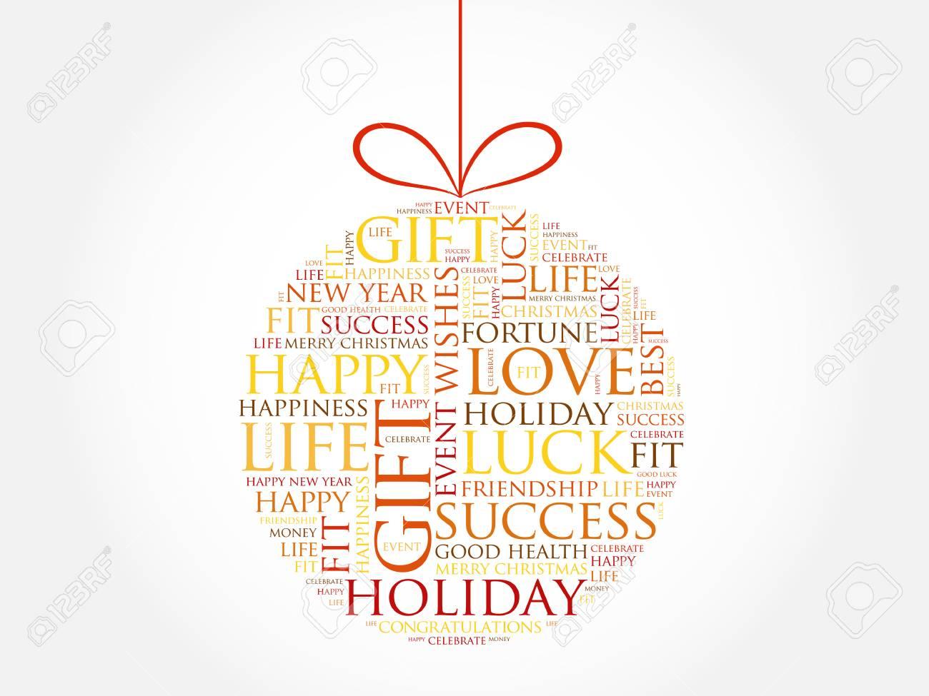 Frohes Neues Jahr Feier Grußkarte, Christmas Ball Wortwolke, Urlaub ...