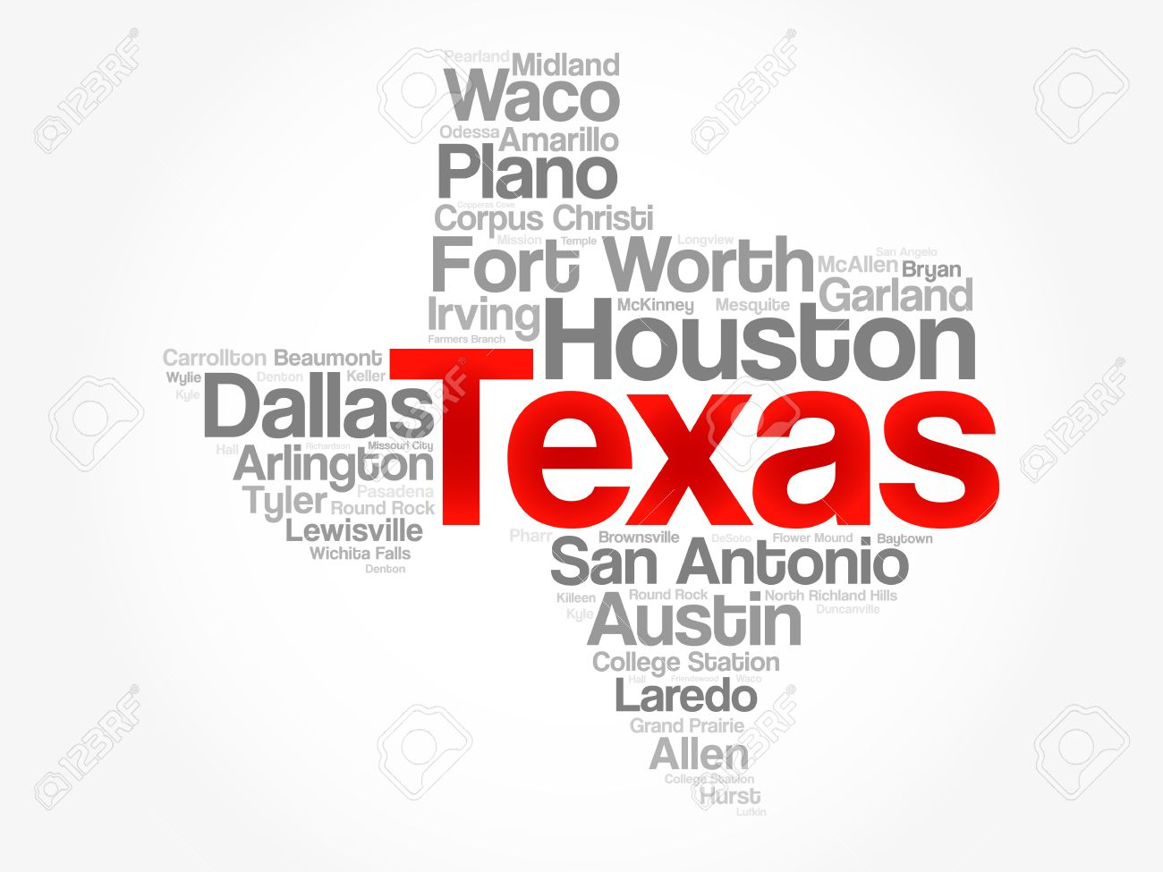 List Of Cities In Texas USA State Word Cloud Map Concept - Texas usa map
