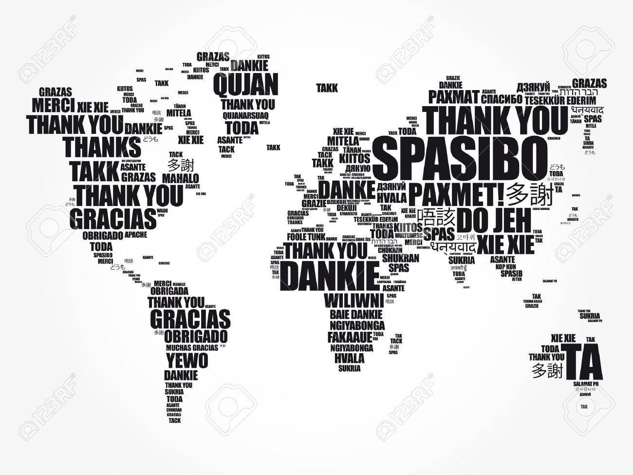 Thank you in many languages world map in typography word cloud thank you in many languages world map in typography word cloud multilingual for education or gumiabroncs Gallery