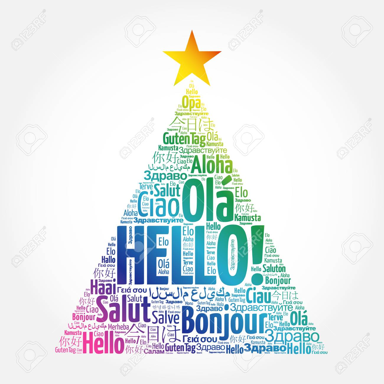 Hello word cloud in different languages of the world greeting hello word cloud in different languages of the world greeting card in the shape of kristyandbryce Gallery