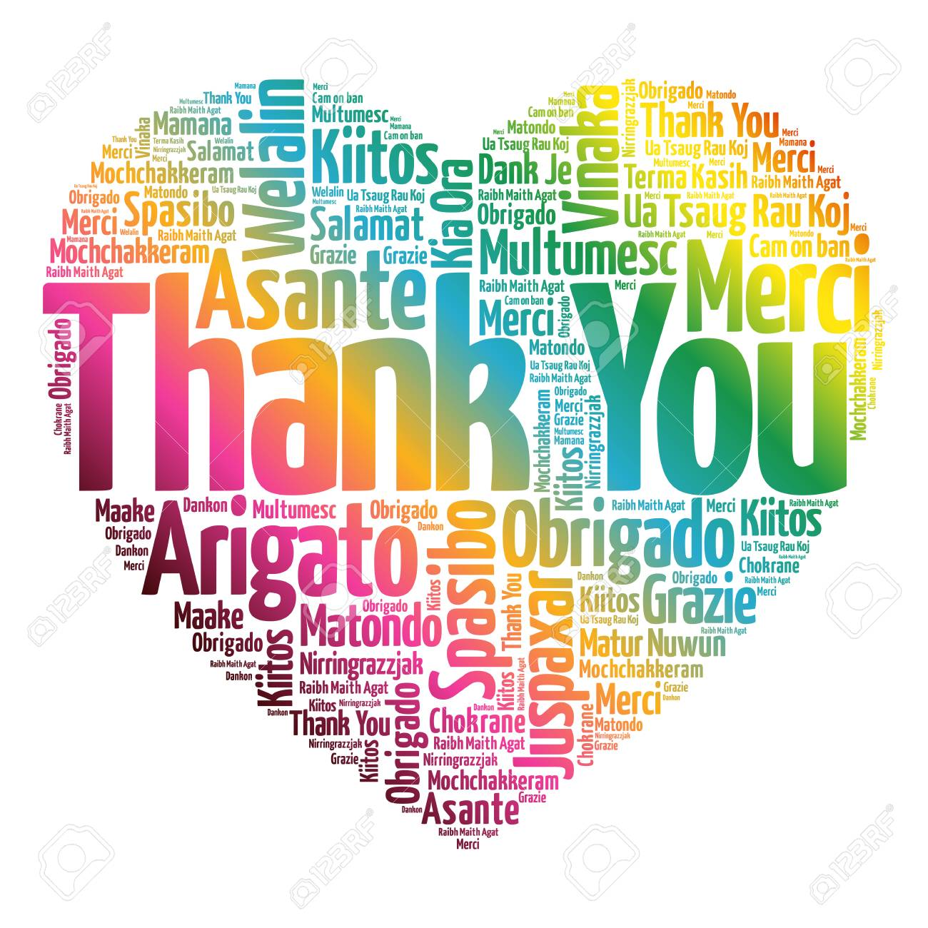 thank you love heart word cloud in different languages concept rh 123rf com Thank You Clip Art thank you in many languages clipart