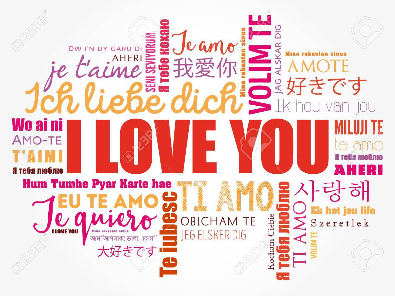 """love words """"I love you"""" in all languages of the world, word cloud background - 80791697"""