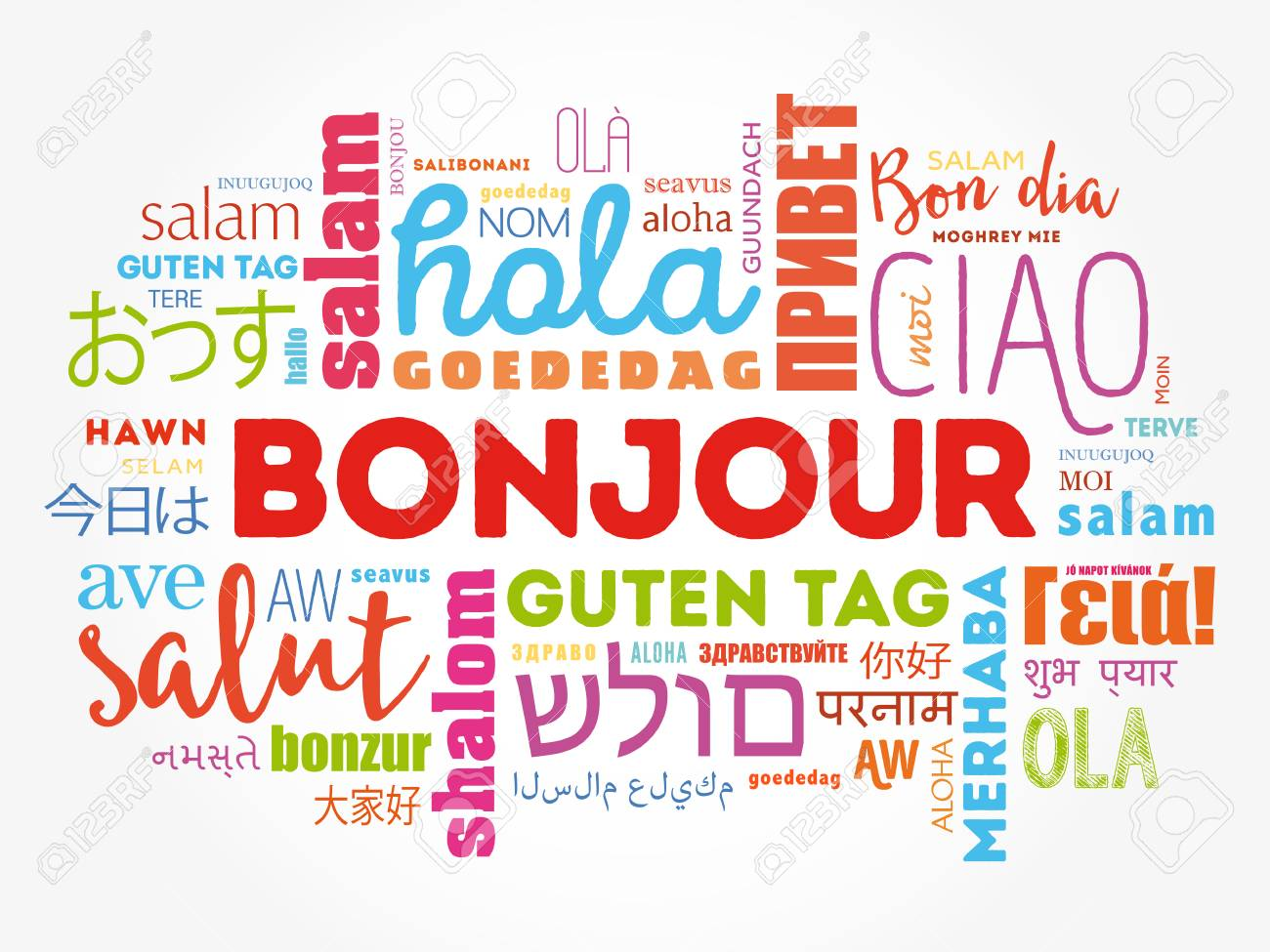 Bonjour hello greeting in french word cloud in different bonjour hello greeting in french word cloud in different languages of the world kristyandbryce Gallery